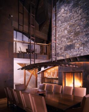 Mine-Bending Home Dining Room and Fireplace